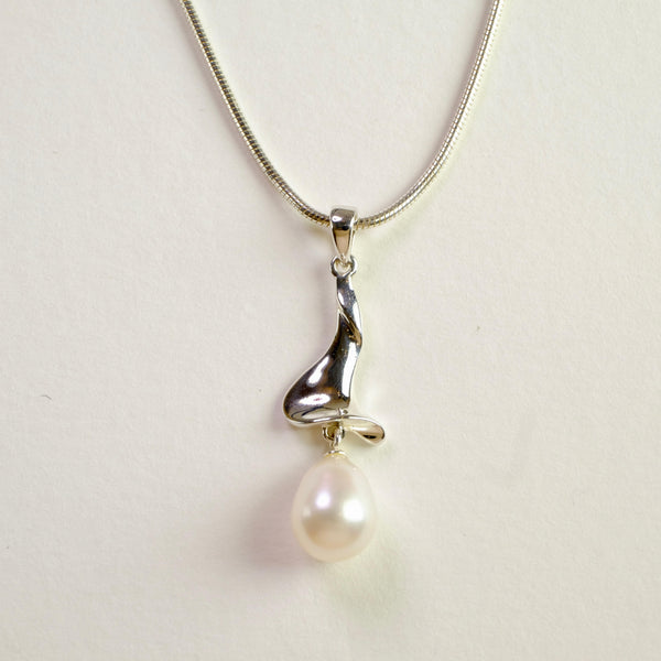 Silver and Fresh Water Pearl Pendant by 'LBJ Designs'.