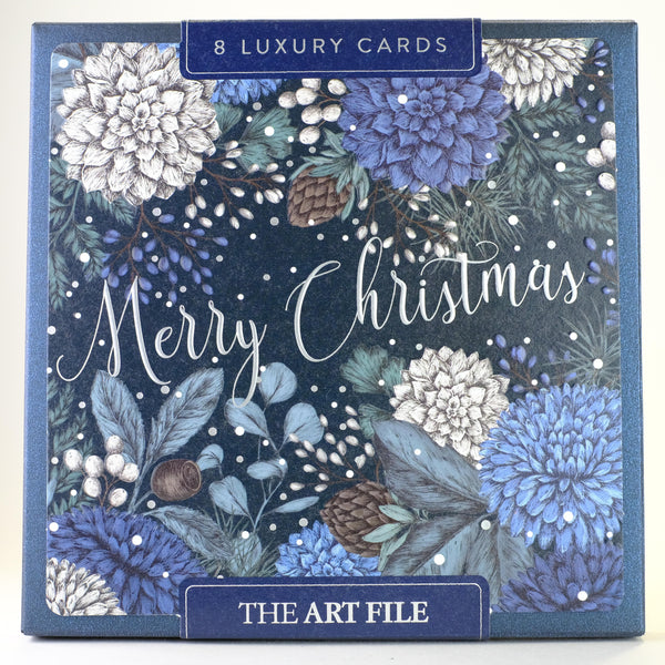 Box of 8 Luxury Blue Floral Christmas Cards.