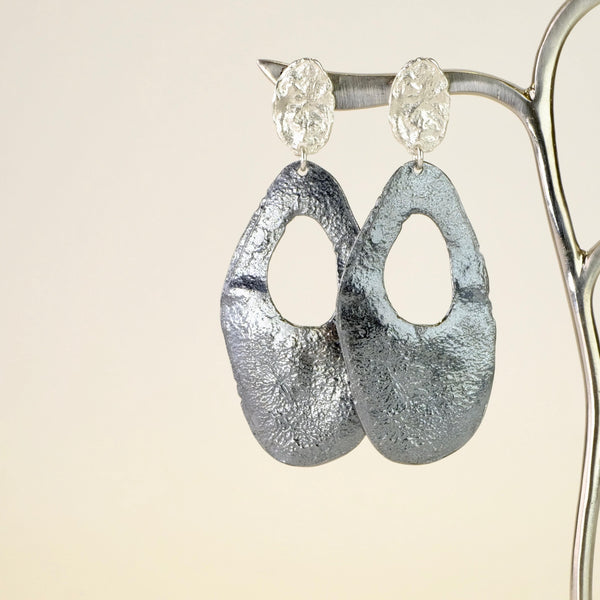 Oxidized Silver Drop Earrings by JB Designs.