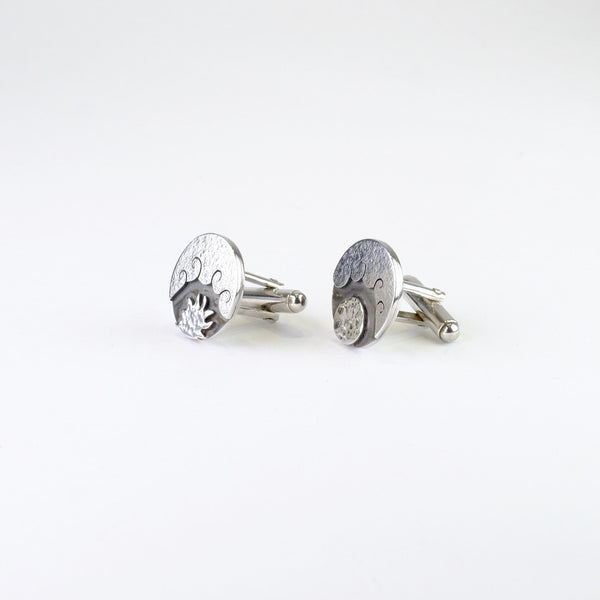 Hand Made Sterling Silver Sun and Moon Cufflinks.