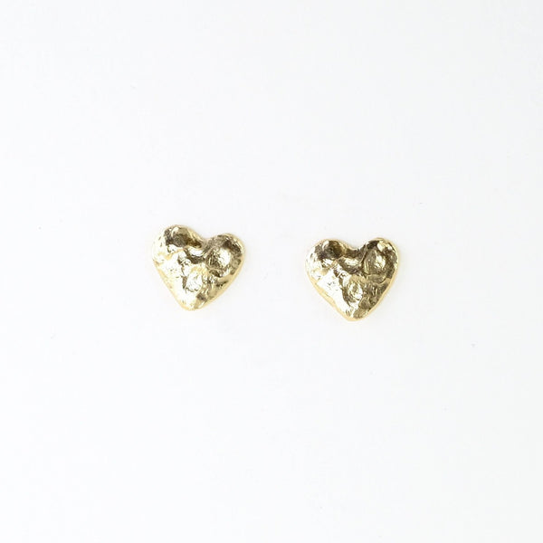 Textured Gold Plated Heart Stud Earrings by JB Designs.