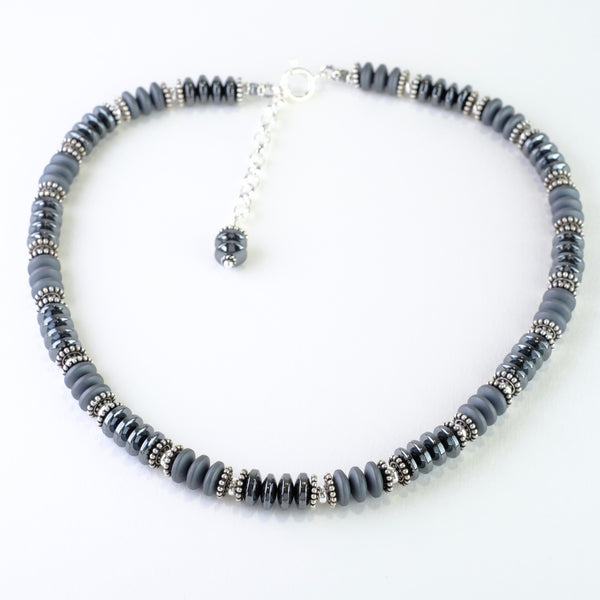 Handmade Hematite and Silver Beaded Necklace.