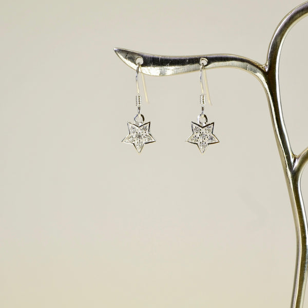 Cubic Zirconia and Silver Star Drop Earrings