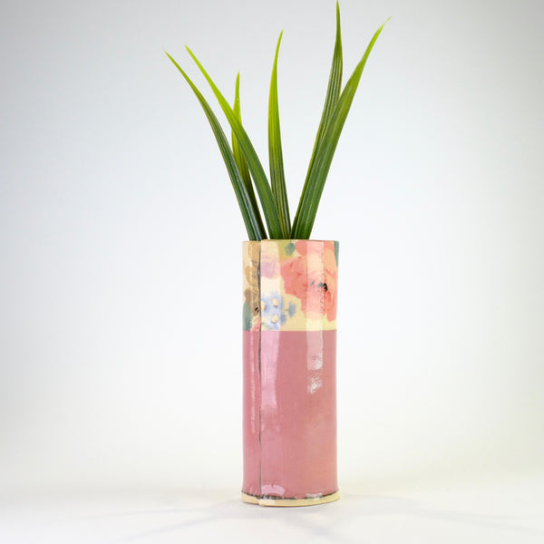 Handmade Small Pink Ceramic Bud Vase by Virginia Graham.