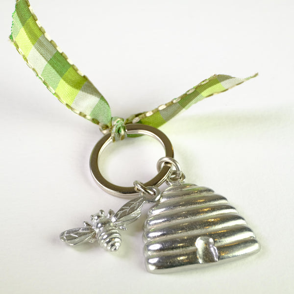 Pewter Bee and Hive Keyring.