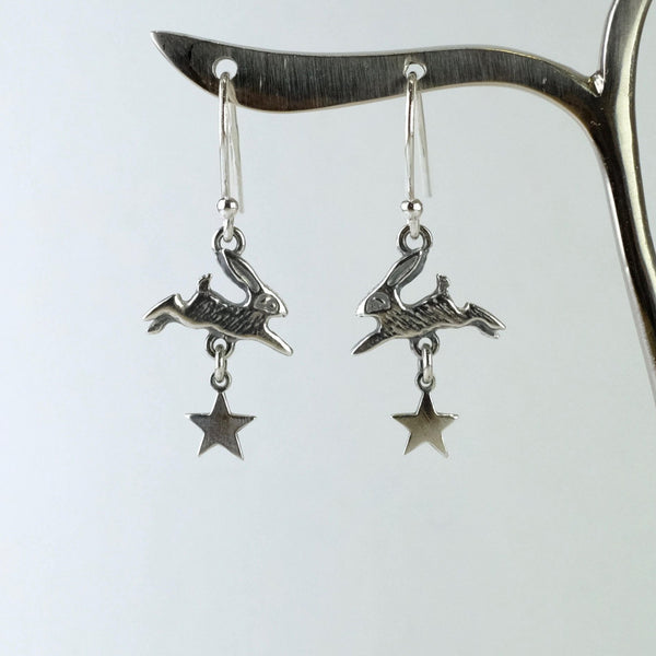 Handmade Silver 'Hare and Star' Earrings by Nick Hubbard.