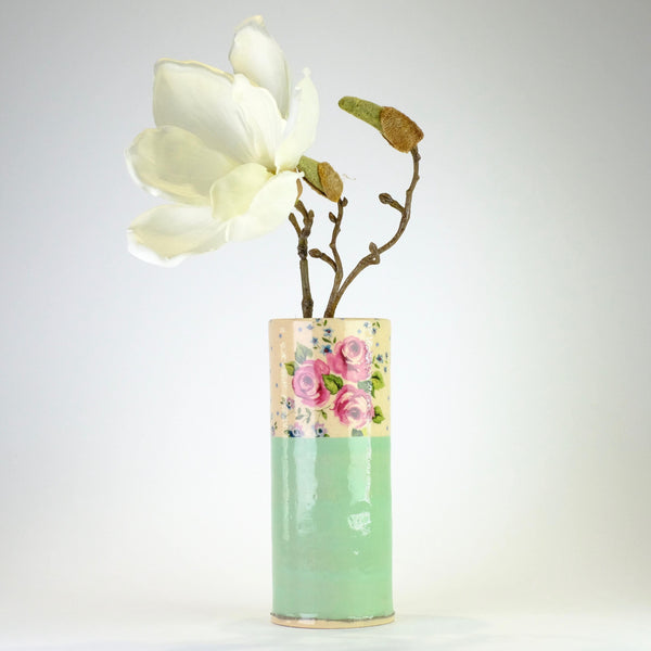 Handmade Medium Mint Ceramic Bud Vase by Virginia Graham.
