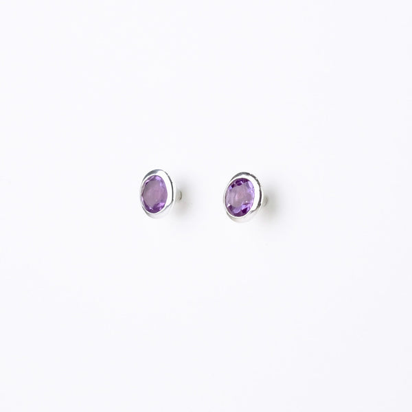 Silver and Amethyst Stud Earrings.