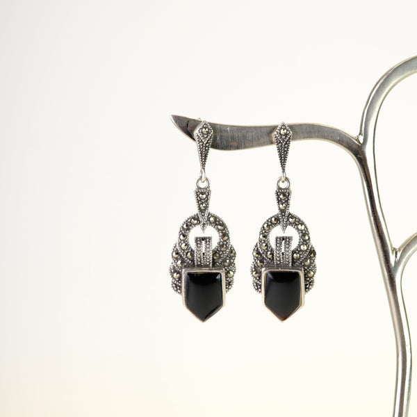 Marcasite, Black Onyx and Silver Drop Earrings.