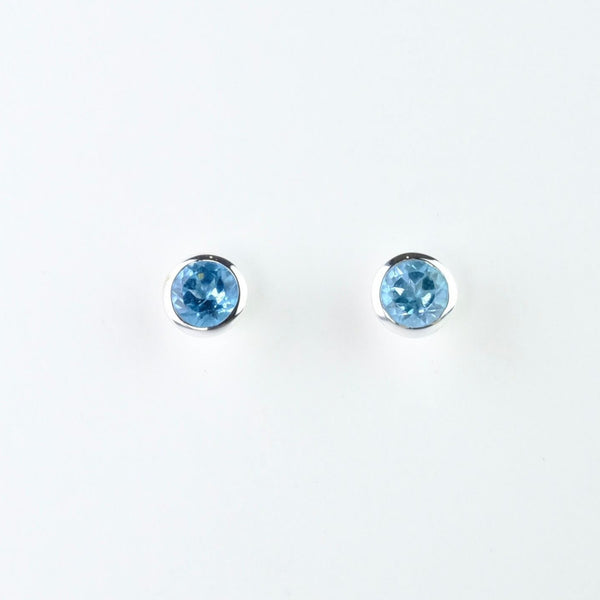 Conical silver and Blue Topaz Stud Earrings.