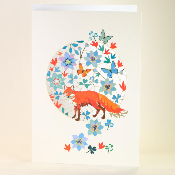'Foxes Amongst the Flowers' Laser Cut Blank Card