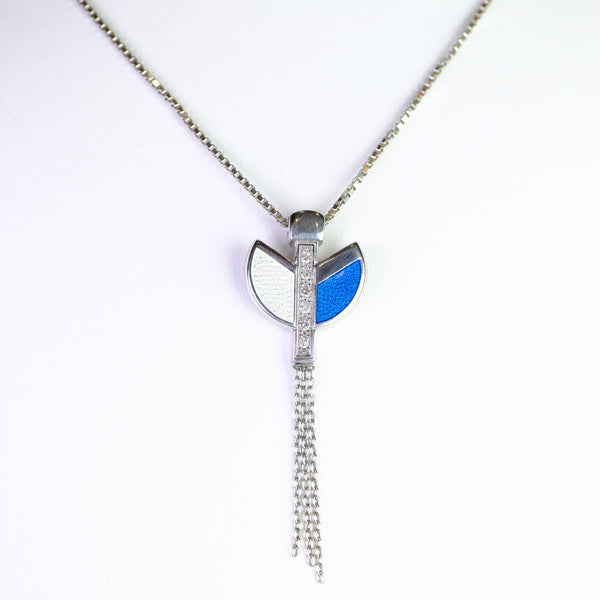 Blue Enamel and Diamond Art Deco style Pendant by Nicole Barr.