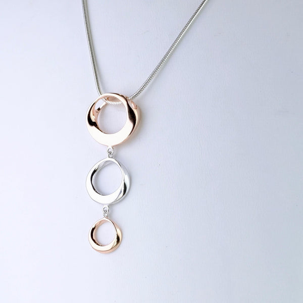 Sterling Silver and Gold Plated Triple Circle Pendant by JB Designs.