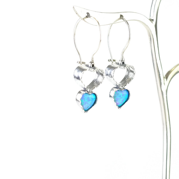 Opal and Silver Double Heart Earrings.