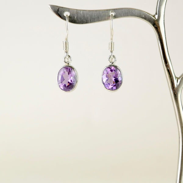 Oval Silver and Amethyst Drop Earrings.
