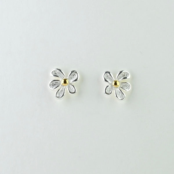 Silver Flower Stud Earrings by JB Designs.
