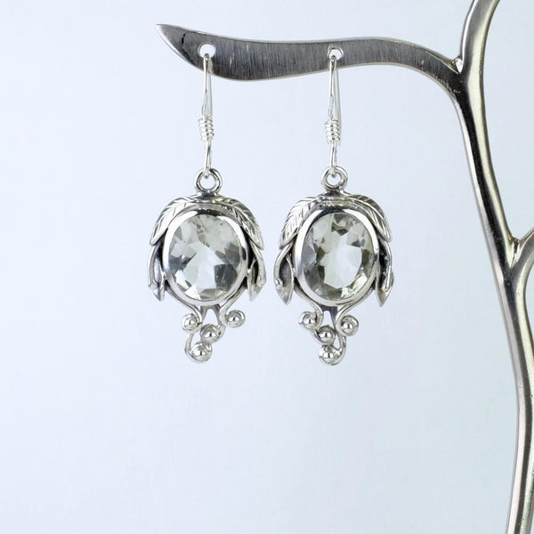 Silver and Green Amethyst Drop Earrings.