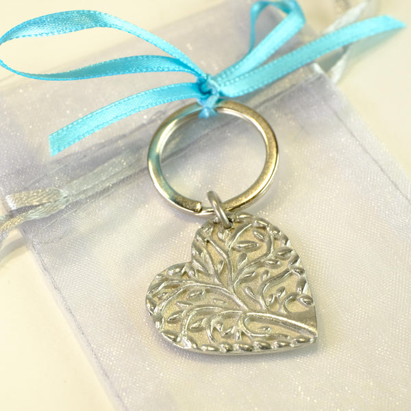 Pewter Filigree Heart Keyring.