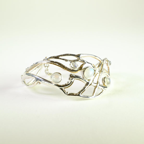 Silver and Moonstone Bangle Bracelet.