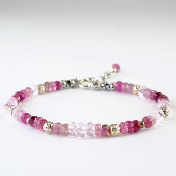 Silver, Morganite and Tourmaline Beaded Bracelet.