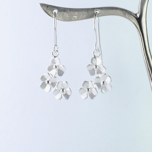Matt Flower Silver Drop Earrings by JB Designs.
