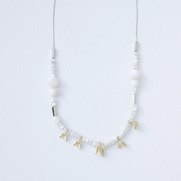 Silver, Mother of Pearl and Gold Plated Linked Necklace by LBJ Designs.