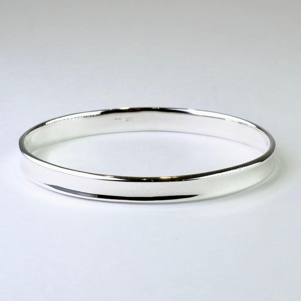 Oval Sterling Silver Bangle Bracelet.