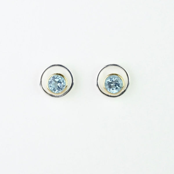 Silver, Blue Topaz and Gold Plate Stud Earrings by JB Designs.