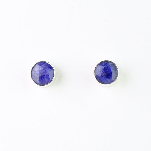 Sapphire Quartz and Silver Stud Earrings.