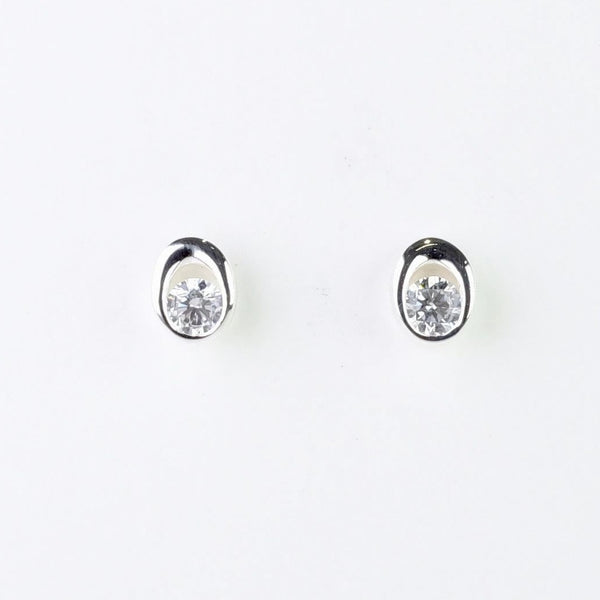 Silver and Cz Oval Stud Earrings by JB Designs.