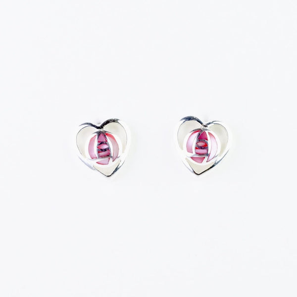 Pink Shell and Silver 'Mackintosh' Stud Earrings.