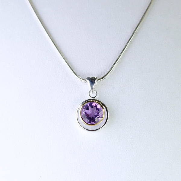 Amethyst, Silver and Gold Plated Pendant by JB Designs