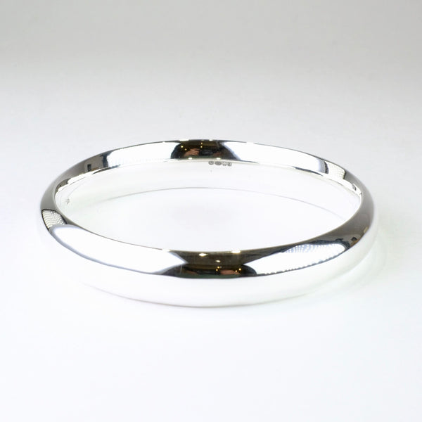 'D' Profile Sterling Silver Bangle Bracelet.