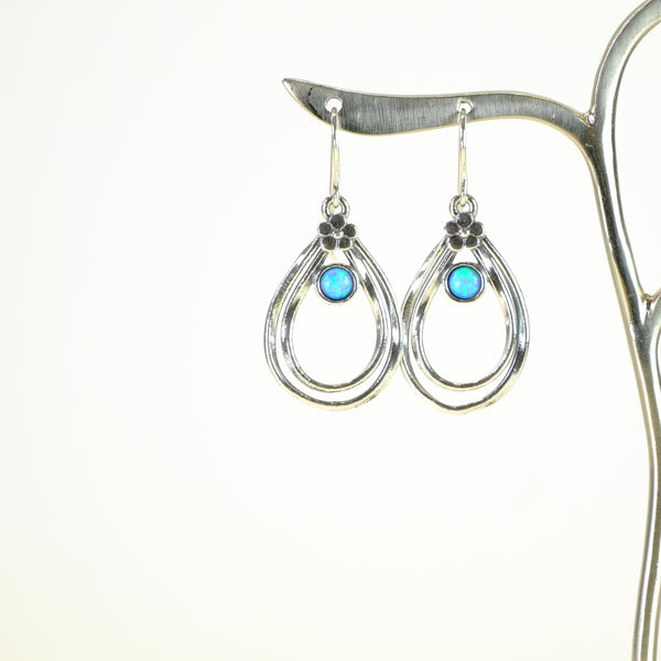 Opal and Silver Earrings.