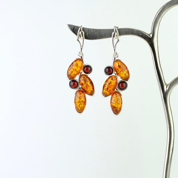 Cherry and Cognac Amber and Silver Earrings.