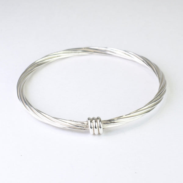 Entwined Silver Bangle Bracelet.