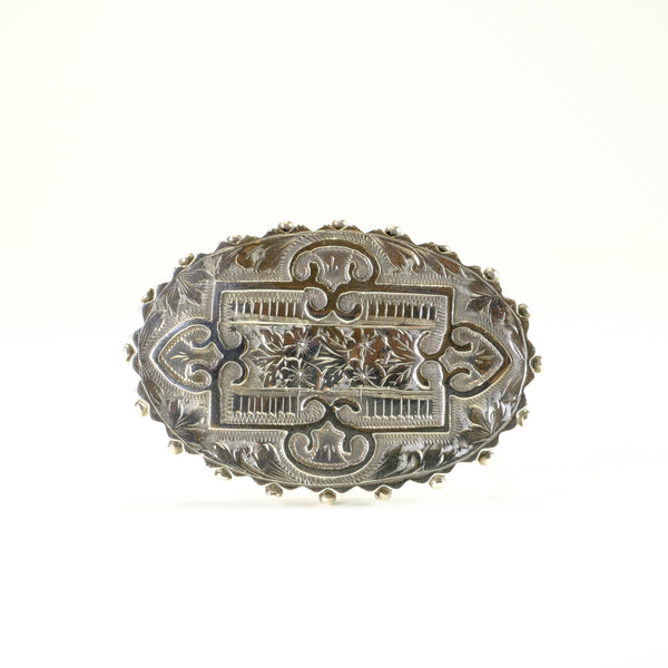 Antique Oval Silver Brooch. (1886)