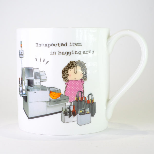 'Unexpected Item in the Bagging Area' by Rosie Made a Thing,Bone China Mug.