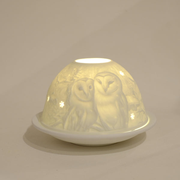 Tea Light Holder, Barn Owls Design