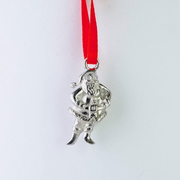 Pewter Santa Christmas Decoration.