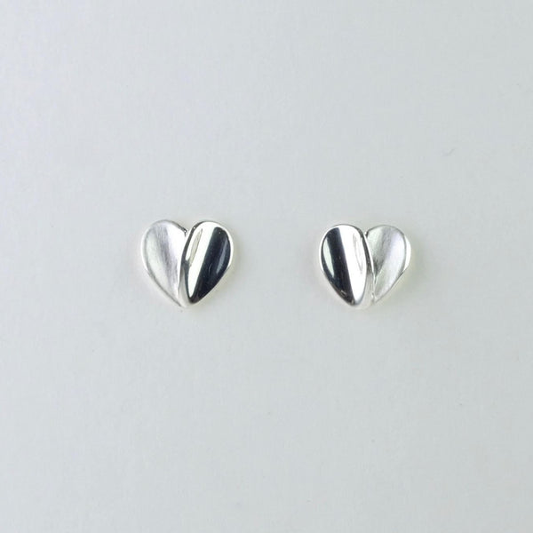 Silver Heart Stud Earrings by JB Designs.
