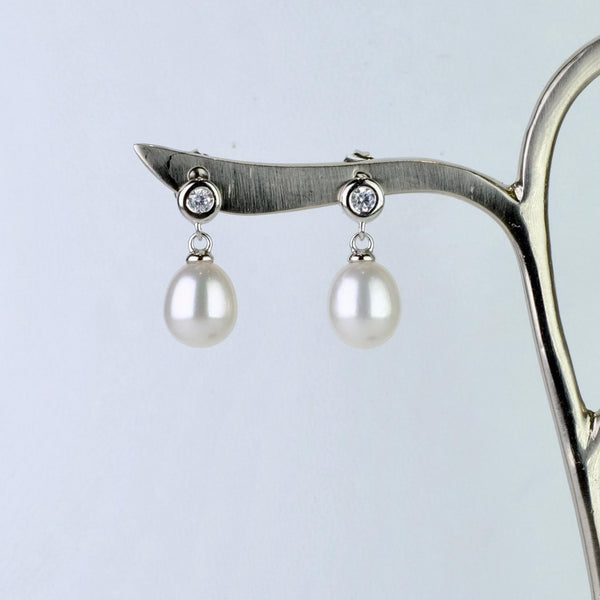 Silver and Pearl and CZ  Drop Earrings by JB Designs.