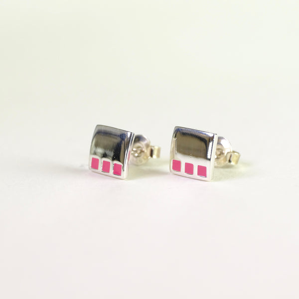 Enamel and Silver Stud Earrings.