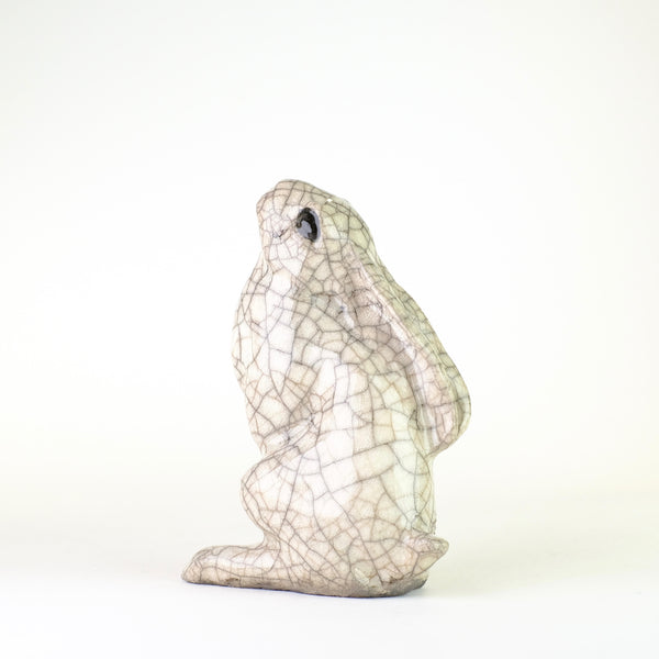 Small Raku Ceramic Moongazing Hare by Paul Jenkins