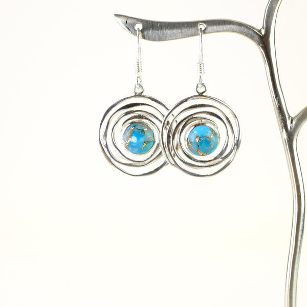 Silver and Blue Mojave Turquoise Drop Earrings.