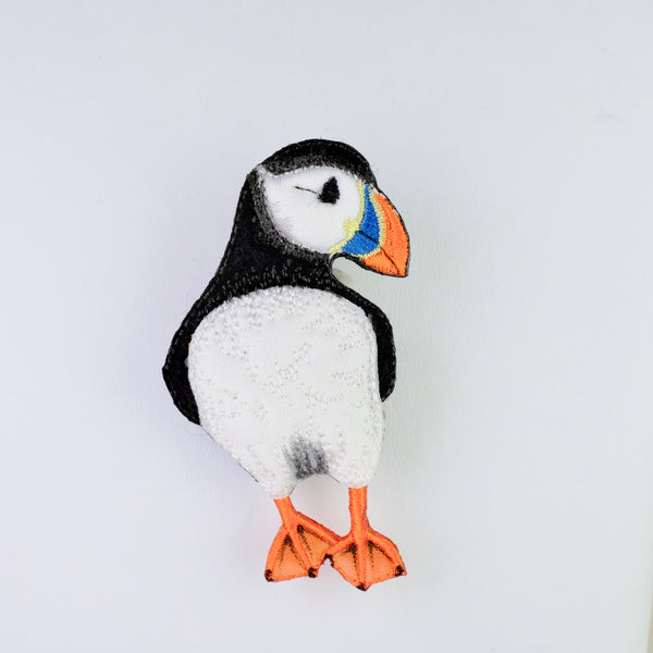 Embroidered Puffin Brooch.