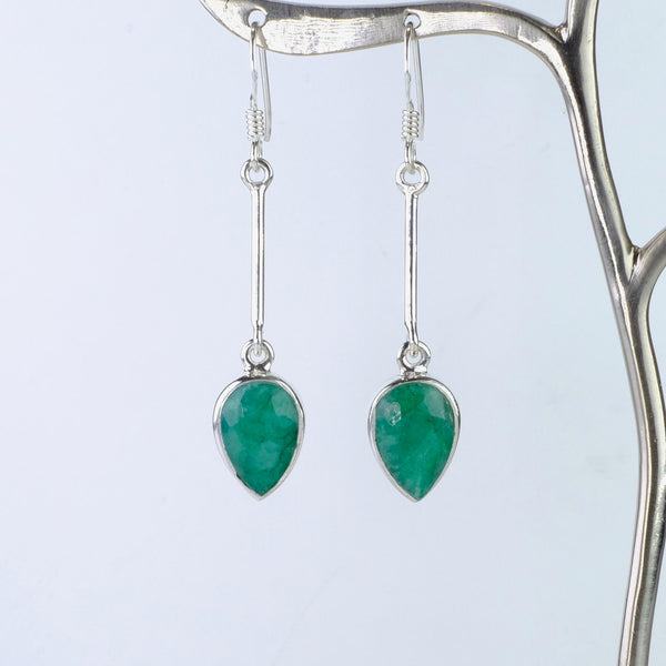 Long Silver and Emerald Quartz Earrings.