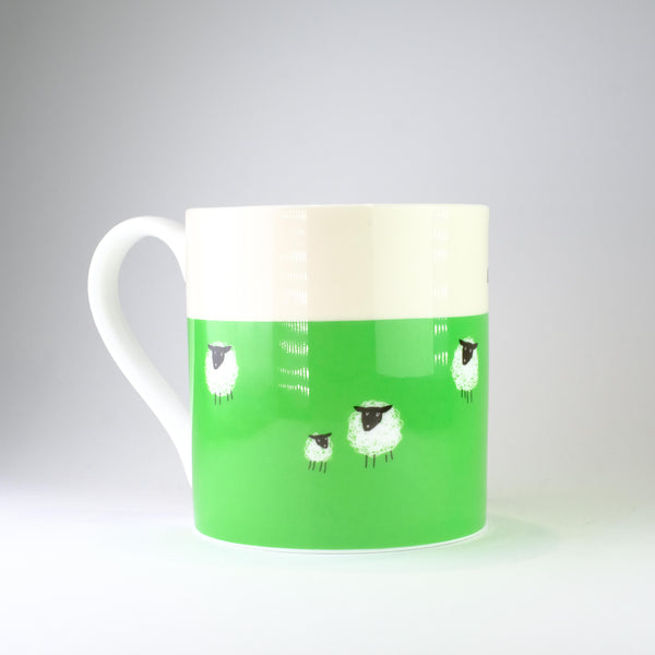 'Happiness is a Walk in the Countryside' Green Bone China Mug.