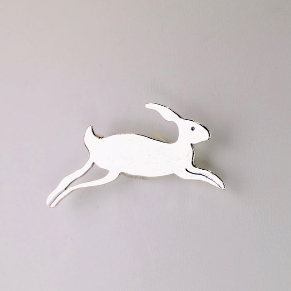 Silver Running Hare Brooch by JB Designs.