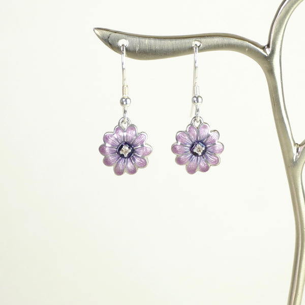 Purple Enamel and Diamond Daisy Earrings by Nicole Barr.